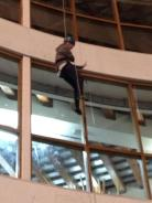 Abseiling past the café. This member of Senior Section tried to wave to people watching and no one waved back. Bah humbug spectators!